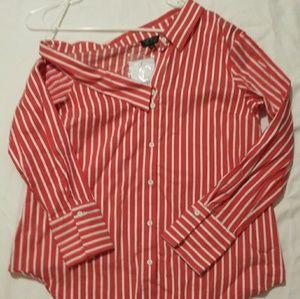 Topshop Red Orange Striped Dress Shirt